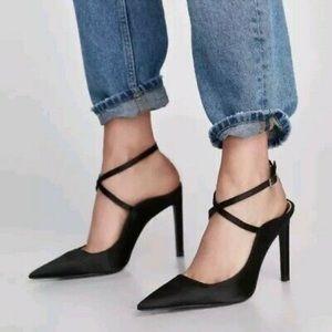 Zara Black Satin Pointed Toe Strappy Shoes Size 6
